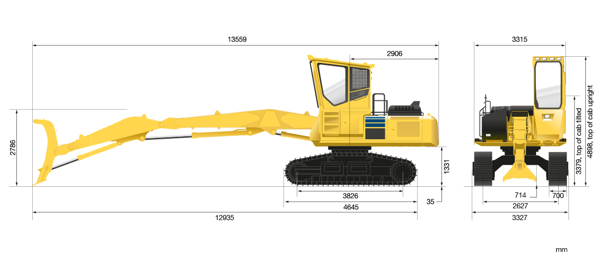 Komatsu PC210 technical drawing