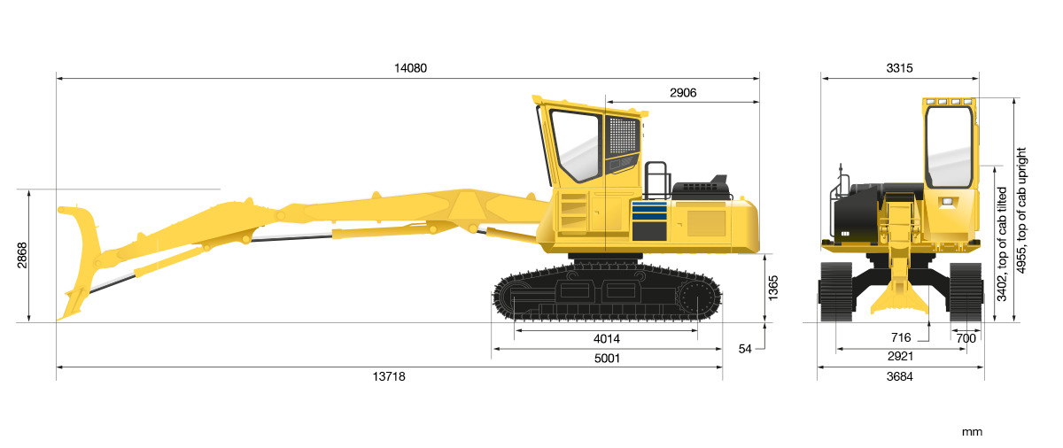 Komatsu PC240 technical drawing